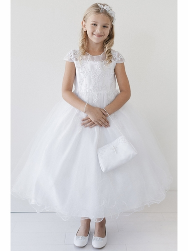 Tip Top Kids 5695 White Cap Sleeve Illusion Neckline w/ Lace & Tulle Wire Hem