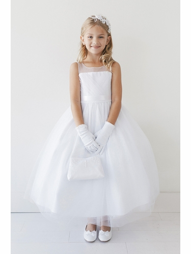 Tip Top Kids 5709 White Illusion Neckline Pleated V-Bodice Tulle Dress