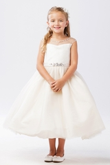 Tip Top Kids 5712 Ivory Illusion Neckline Dress w/ Rhinestone Belt