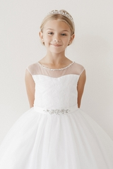 Tip Top Kids 5712 White Illusion Neckline Dress w/ Rhinestone Belt