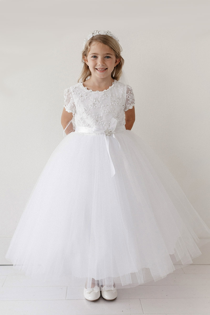Tip Top Kids 5713 White Pearl Gems Lace Bodice Dress W Sleeves
