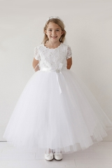 Tip Top Kids 5713 White Pearl & Gems Lace Bodice Dress w/ Sleeves
