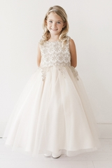 Tip Top Kids 5717 Gold Lace Overlay Bodice w/ Tulle Skirt