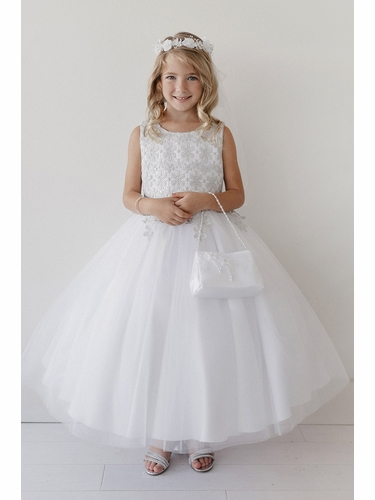 Tip Top Kids 5717 White Lace Overlay Bodice w/ Tulle Skirt