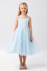 Tip Top Kids 5727 Blue Illusion Neckline Dress w/ Heart Keyhole Back