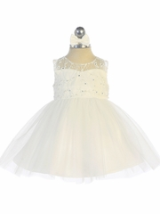 Tip Top Kids 5727 Ivory Illusion Neckline Dress w/ Heart Keyhole Back