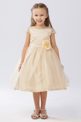Tip Top Kids 5729 Gold Beaded Mesh Sleeve & Neckline Tulle Dress