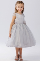 Tip Top Kids 5729 Silver Beaded Mesh Sleeve & Neckline Tulle Dress