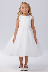 Tip Top Kids 5729 White Beaded Mesh Sleeve & Neckline Tulle Dress