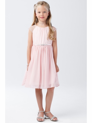 Tip Top Kids 5733 Blush Mesh Sleeve Dress w/ Pleated Skirt & Jewel Belt