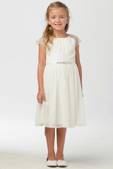 FLASH SALE - Tip Top Kids 5733 Ivory Mesh Sleeve Dress w/ Pleated Skirt & Jewel Belt