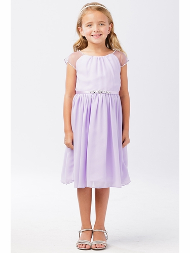 FLASH SALE - Tip Top Kids 5733 Lilac Mesh Sleeve Dress w/ Pleated Skirt & Jewel Belt