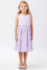 Tip Top Kids 5733 Lilac Mesh Sleeve Dress w/ Pleated Skirt & Jewel Belt