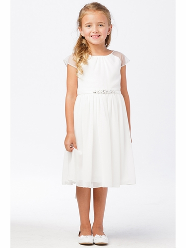 Tip Top Kids 5733 White Mesh Sleeve Dress w/ Pleated Skirt & Jewel Belt