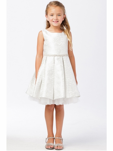 Tip Top Kids 5734 Silver Jacquard Dress