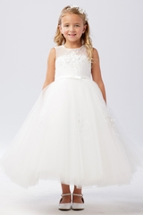 Tip Top Kids 5737 White Illusion Neckline w/ 3D Lace