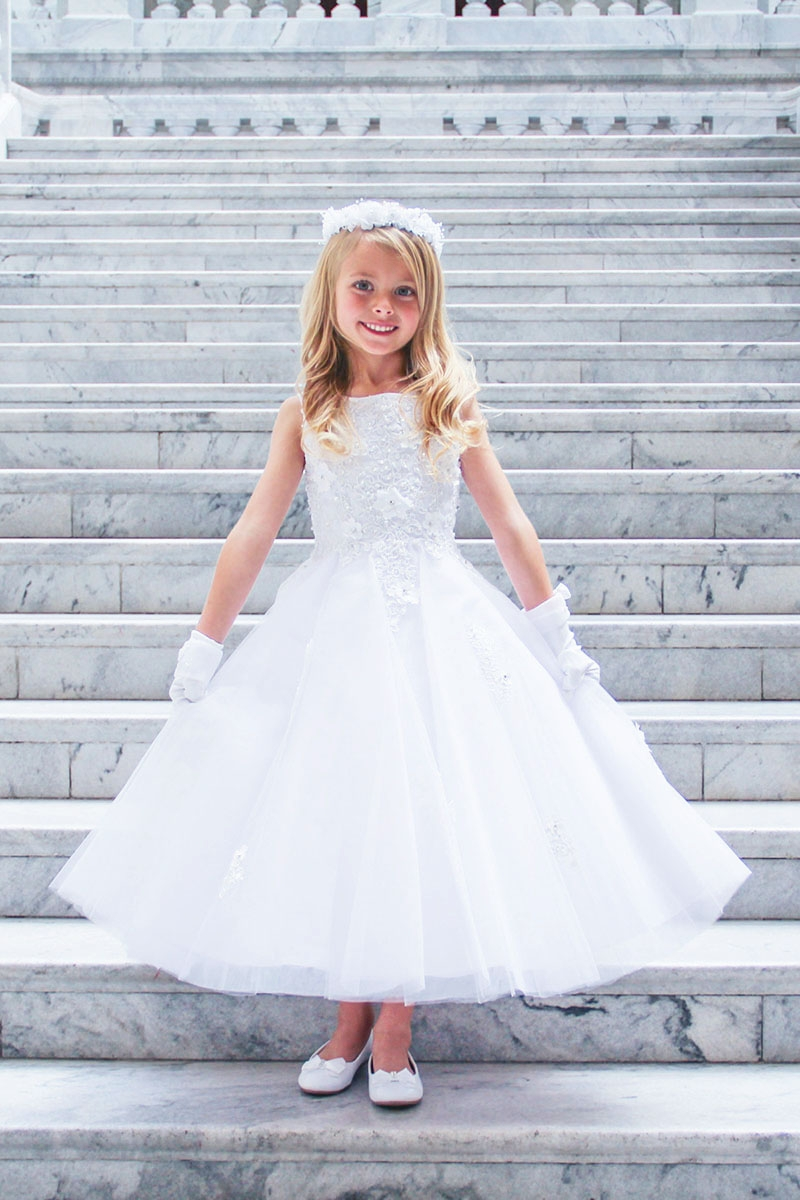 afeaa42c4 ... Girl Dresses > Tip Top Kids 5740 White 3D Flower Lace w/ Tulle Skirt.  Click to Enlarge