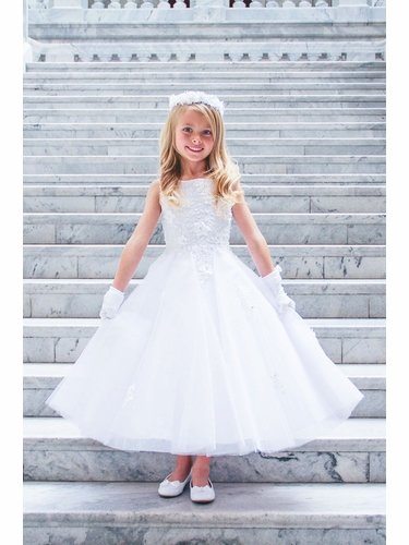 Tip Top Kids 5740 White 3D Flower Lace w/ Tulle Skirt
