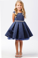 Tip Top Kids 5745 Navy Blue Satin Dress w/ Tulle Hem & Rhinestone Sash