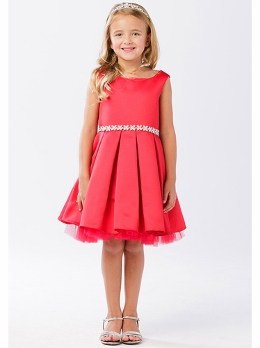 Tip Top Kids 5745 Red Satin Dress w/ Tulle Hem & Rhinestone Sash