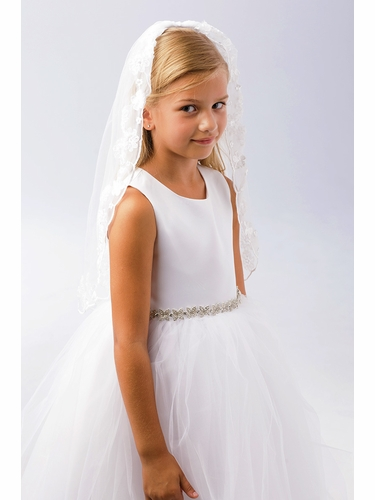 Tip Top Kids 692 White Single Layer Veil w/ Floral Embroidery
