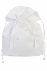 Tip Top Kids B13 White Satin & Sheer Ruffled Bag w/ Pearls