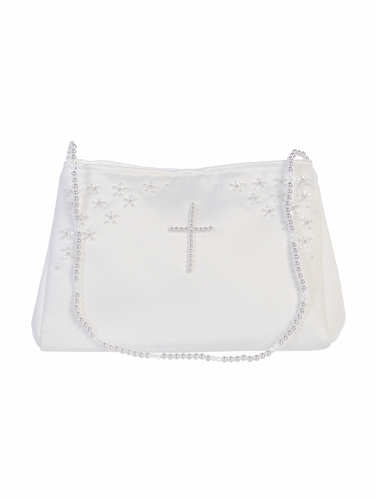 Tip Top Kids B22 White Communion Pearl Cross Purse