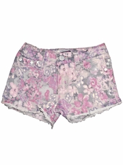 Tractr Jeans Floral Printed Frayed Shorts