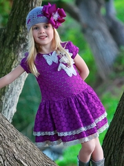 FLASH SALE:  Trish Scully Child Purple Embroidery Butterfly Dress