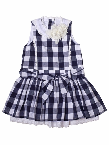 Trish Scully Child So-Cal Prep Navy Checkered Princess Dress