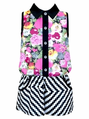 Truly Me Black Floral & Chevron Printed Romper