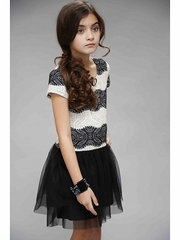 Truly Me by SaraSara Black Ivory Short Sleeve Dress w/ Tulle