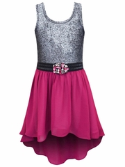 Truly Me by SaraSara Hi Low Dress w/ Metallic Bodice & Magenta Chiffon Skirt