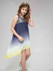 Truly Me by SaraSara High Low Navy Blue Ombre w/ Metallic Sequins
