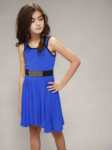 Truly Me by SaraSara Royal Blue Sleeveless Dress w/ Mini Belt