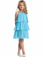 CLEARANCE - Turquoise 3-Tier Chiffon Sequins Dress