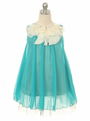 CLEARANCE - Turquoise Chiffon Dress w/ Ivory Flower Neckline