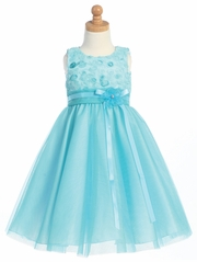 Turquoise Embroidered Tulle Bodice w/Tulle Skirt
