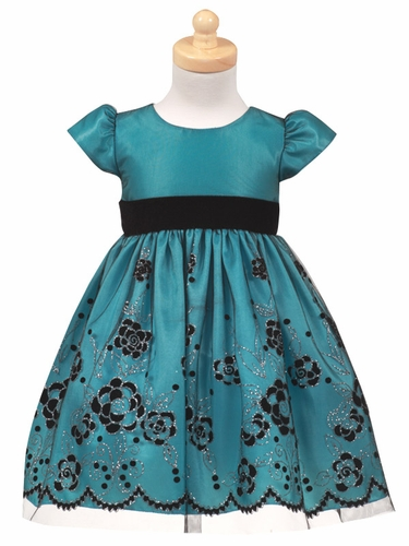 Turquoise Flocked Tulle Dress w/ Velvet Waistband