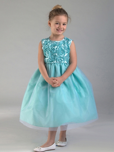 Turquoise Floral Ribboned Bodice w/ Tulle Skirt