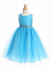 Turquoise Flower Girl Dress - Sleeveless Bodice w/ Adorned Waistline