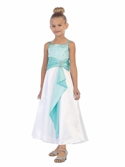 Turquoise  Lace Jeweled Bodice w/ Satin Sash & Pin