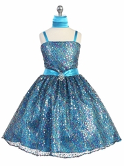 Turquoise Multiple Sequined Dress