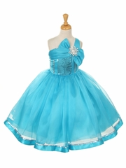 Turquoise One Shoulder Sparkle Organza Dress