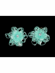 Turquoise Organza Flower Hair Clip w/ Stone