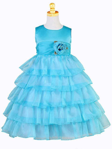 Turquoise Organza Layered Dress
