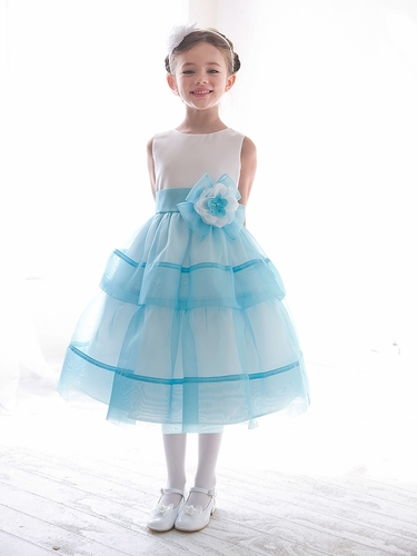 Turquoise Organza Layered Dress w/ Flower & Sash