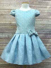 Turquoise Pleated Above-the-Knee Dress w/ Bow