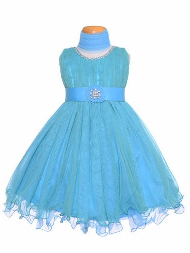 Turquoise Pleated Tulles & Jewels Dress