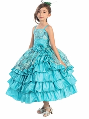 Turquoise Rose & Sparkle Multilayer Dress w/ Bolero
